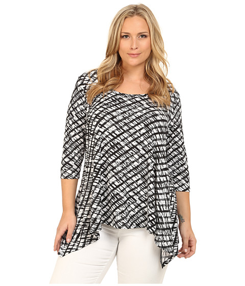 Karen Kane Plus - Plus Size 3/4 Sleeve Handkerchief Top (Print) Women's Blouse