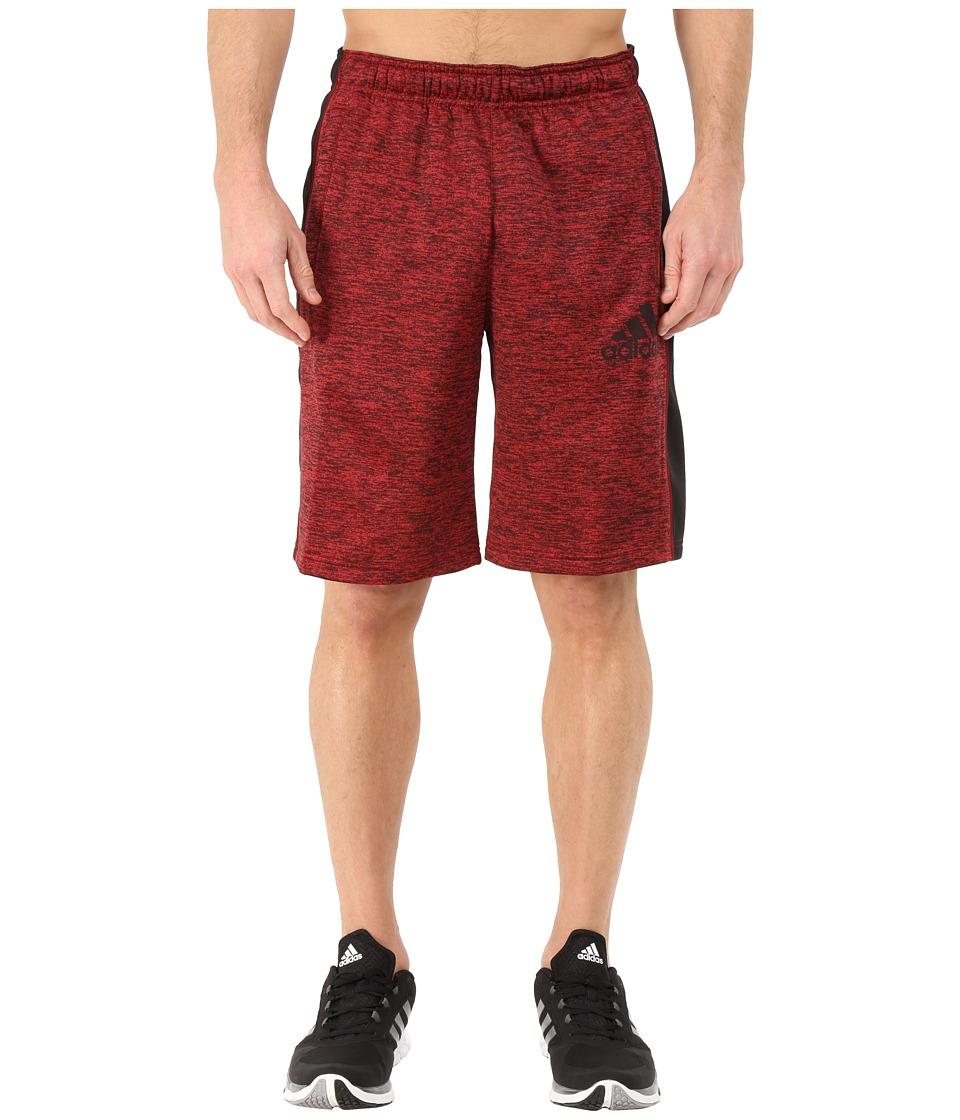 adidas - Team Issue Fleece Shorts (Scarlet/Black Heather/Black/Dark Grey) Men's Workout