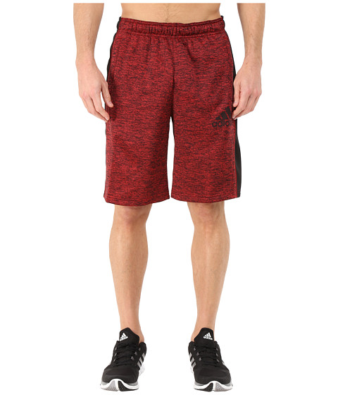 adidas - Team Issue Fleece Shorts (Scarlet/Black Heather/Black/Dark Grey) Men's Workout