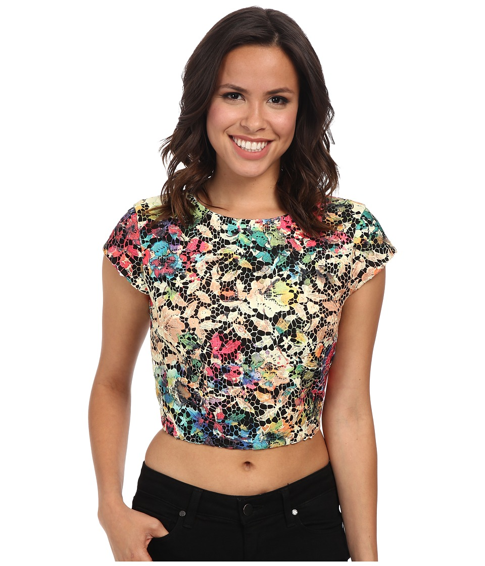Nicole Miller - Lace Fantasia Poppy Top (Multi) Women's Clothing