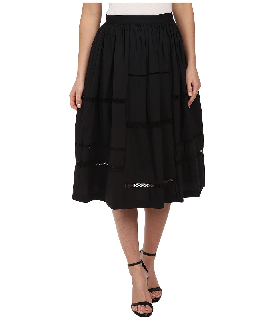 Nicole Miller - Poplin Trim Full Skirt (Black) Women's Skirt