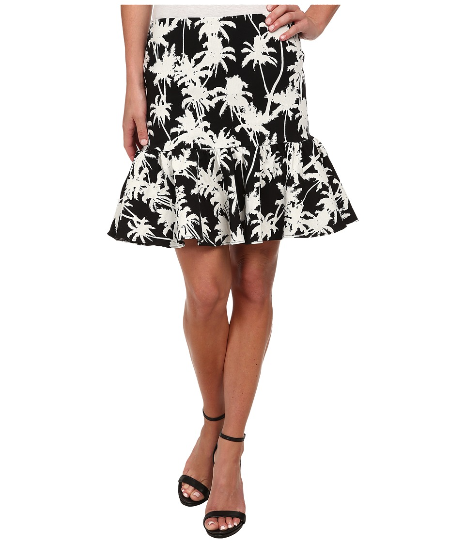 Nicole Miller - Palm Medley Ruffle Bottom Skirt (Black/White) Women