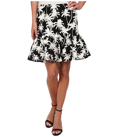 Nicole Miller - Palm Medley Ruffle Bottom Skirt (Black/White) Women's Skirt