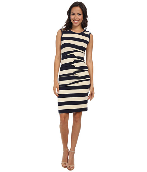 Nicole Miller - Stripe Jersey Tank Dress w/ Cutout (Ivory/Navy) Women