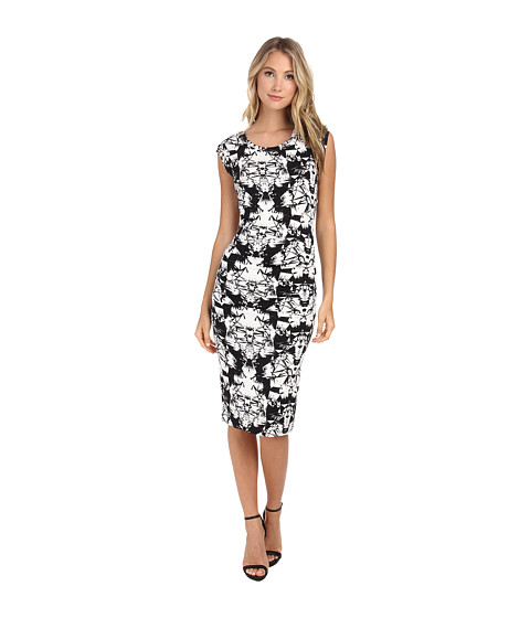 Nicole Miller - Origami Jersey Midi Dress (Black/White) Women's Dress