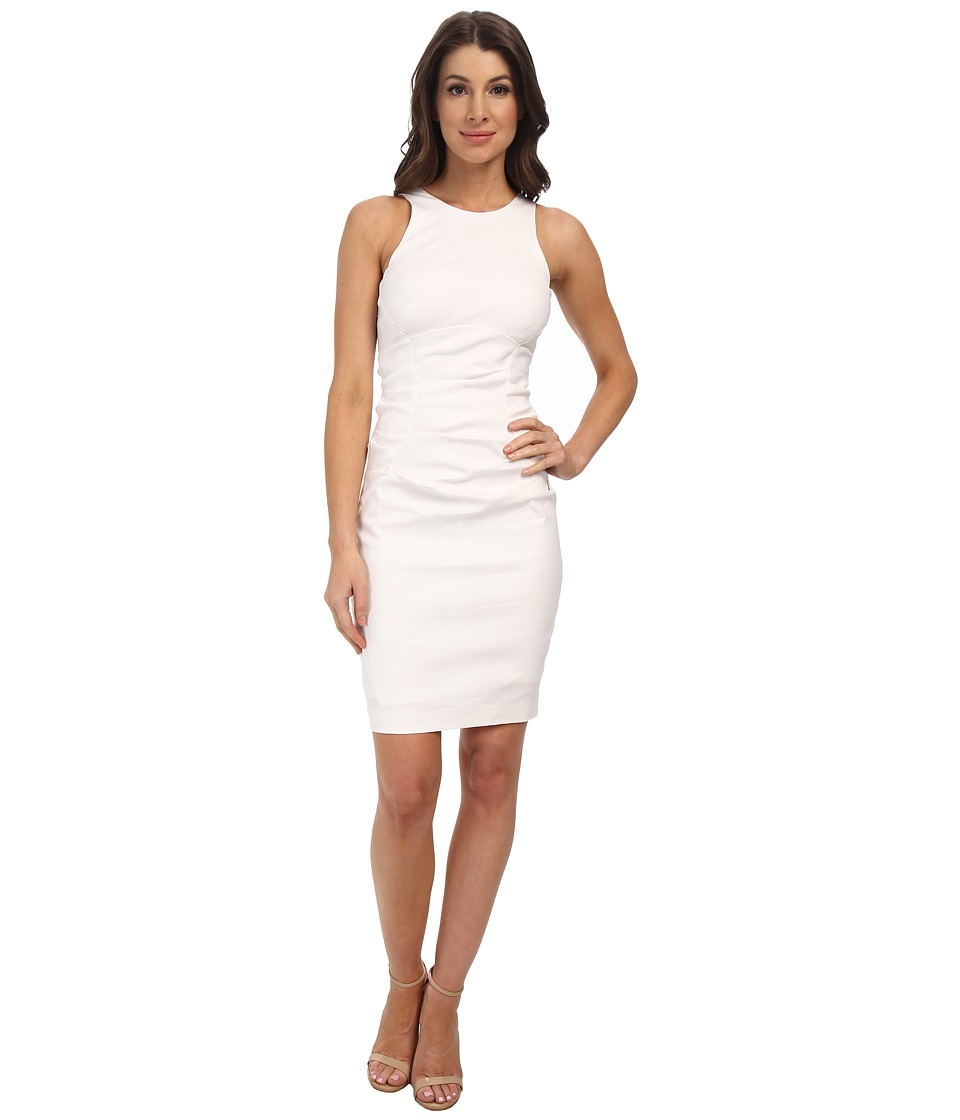Nicole Miller High Neck Stretch Linen Dress (White) Women