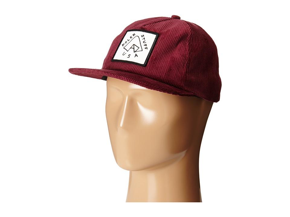 Poler - Floppy Cord Tent Hat (Burgundy) Caps