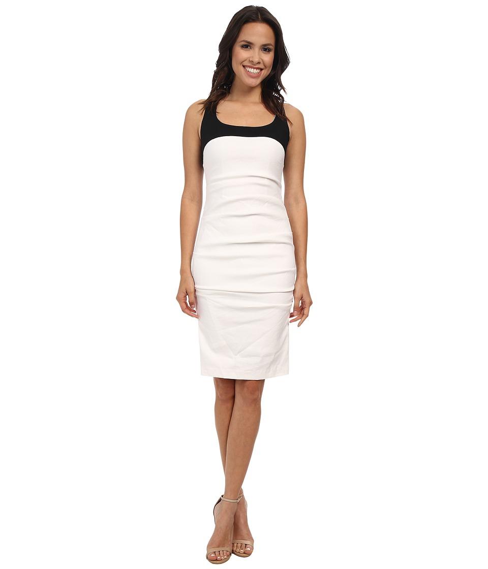 Nicole Miller - Stretch Linen Combo Tank Dress (White/Black) Women's Dress