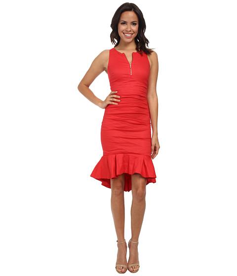 Nicole Miller - High Neck w/ Zip and Ruffle Hem Dress (Watermelon) Women