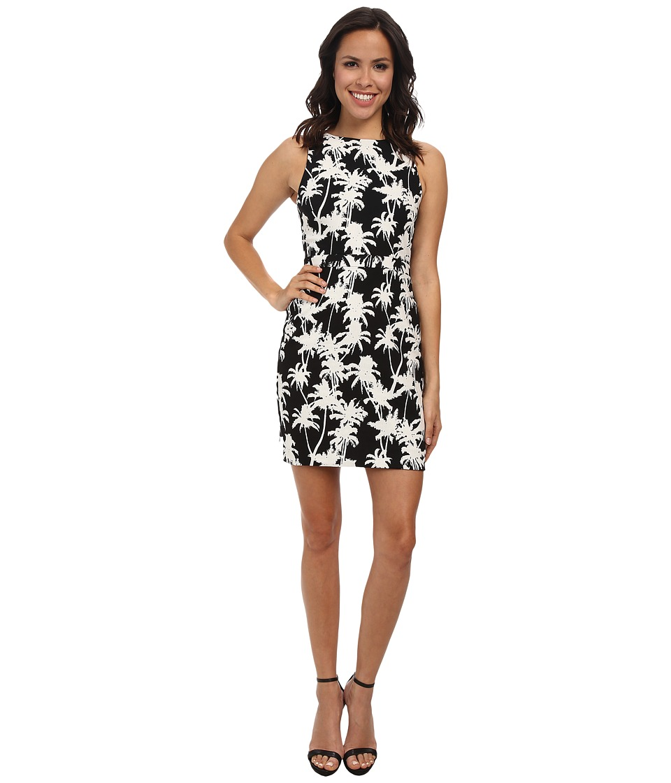 Nicole Miller Palm Medley High Neck Dress (Black/White) Women