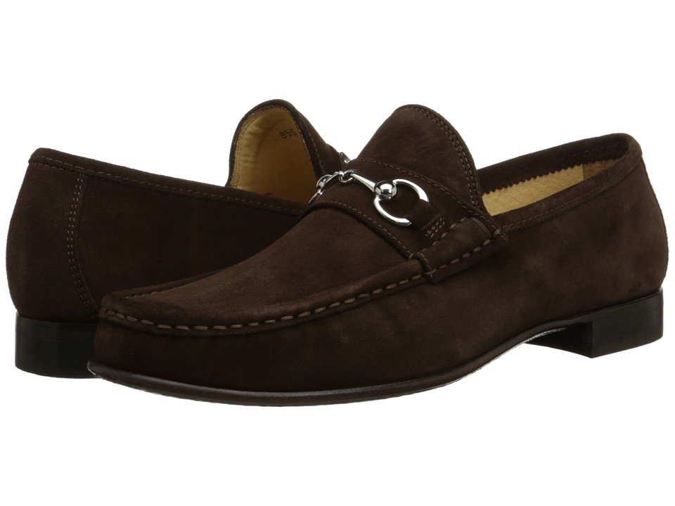 Massimo Matteo - Hand Sewn Moccasin with Bit (Brown Suede) Men's Slip on Shoes