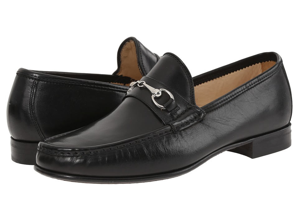 Massimo Matteo - Hand Sewn Moccasin with Bit (Black) Men's Slip on Shoes