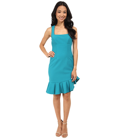 Nicole Miller - Techy Crepe Scoop Neck Dress w/ Ruffle (Teal) Women's Dress