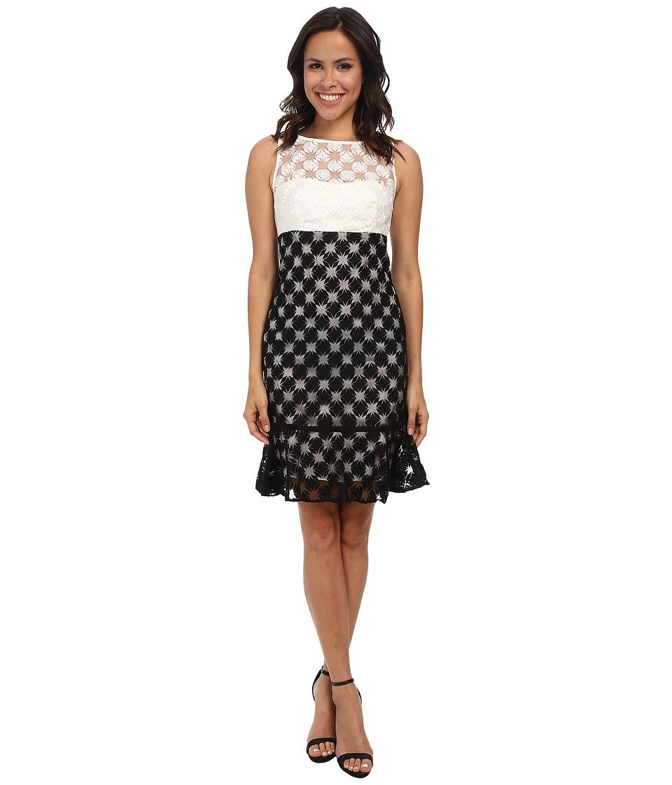 Nicole Miller - Sunburst Combo Embroidery Dress (White/Black) Women's Dress