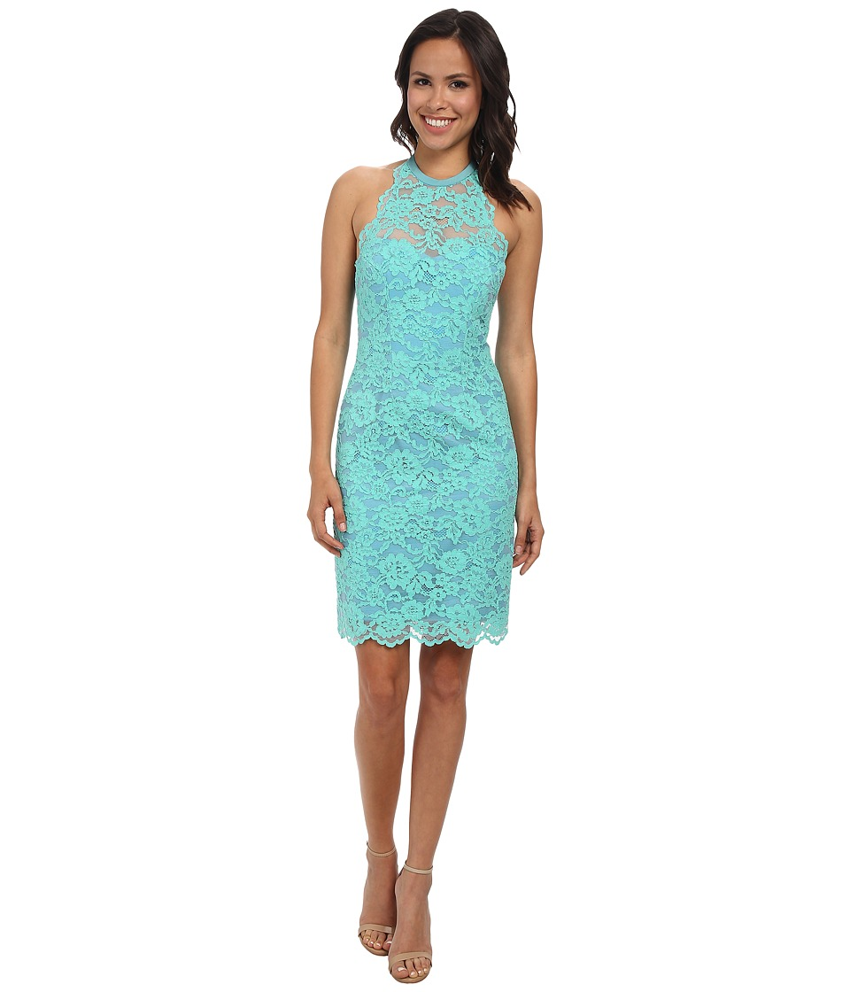 Nicole Miller Cordelia Lace Party Dress (Aqua) Women