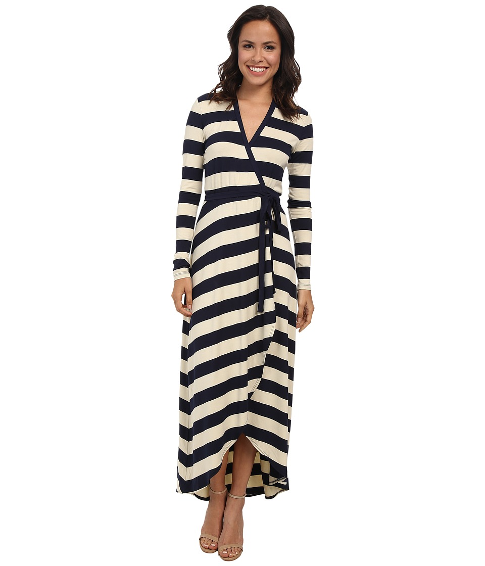 Nicole Miller Bold Stripe Wrap Dress (Ivory/Navy) Women