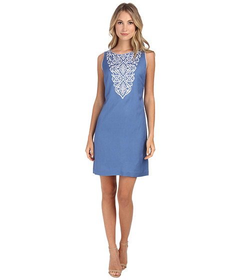 Jessica Howard - Sleeveless Embroidered Neck Shift Dress (Ocean) Women