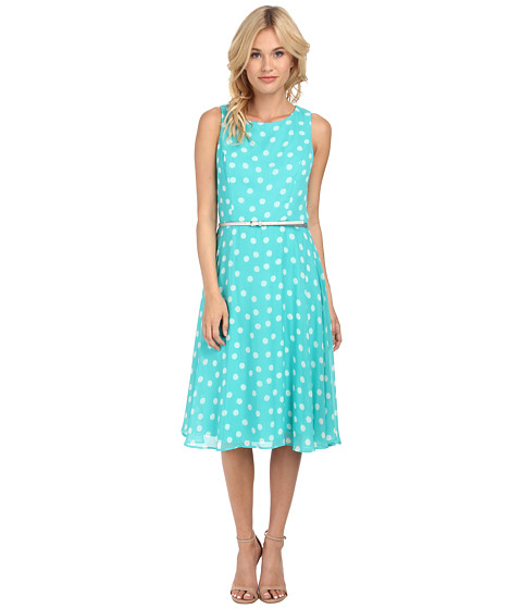 Jessica Howard - Sleeveless Belted A-Line Dress (Mint) Women's Dress