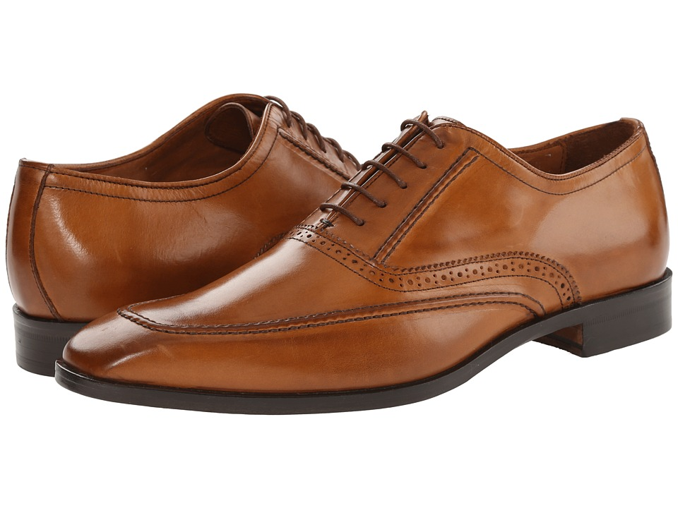 Massimo Matteo - 5-Eye Plain Mocc Toe (Brandy) Men's Lace up casual Shoes