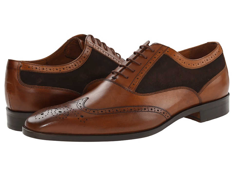 Massimo Matteo - Suede/Leather Wing Medallion (Tan Leather/Brown Suede) Men's Lace up casual Shoes