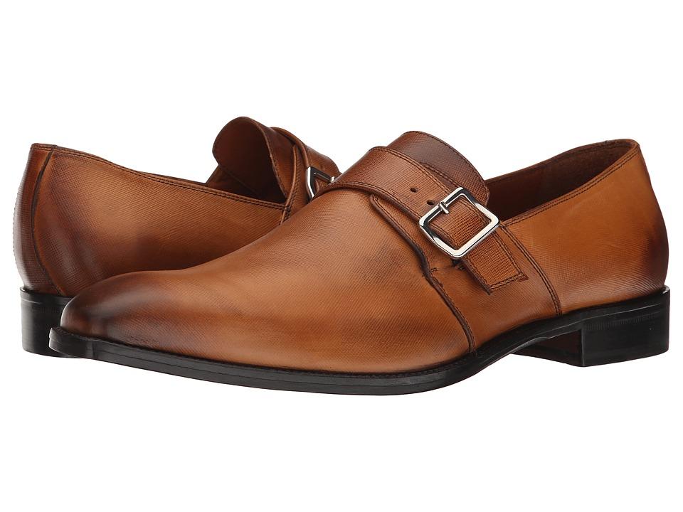 Massimo Matteo - Saffiano Leather Single Monk Strap w/ Buckle (Tan Saffiano) Men's Shoes