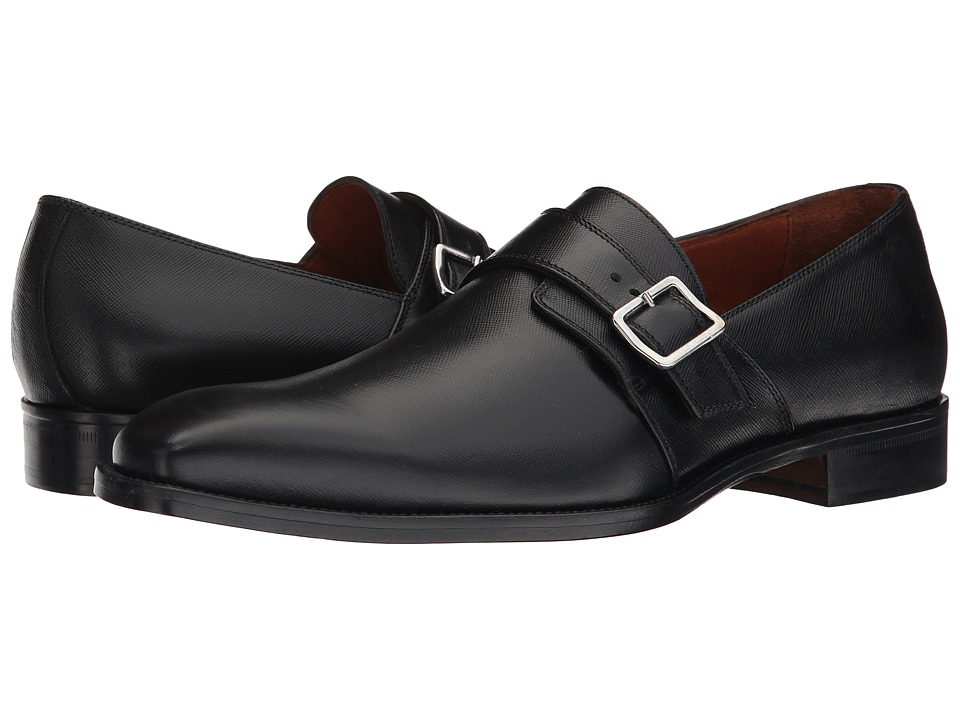 Massimo Matteo Saffiano Leather Single Monk Strap w/ Buckle (Black Saffiano) Men