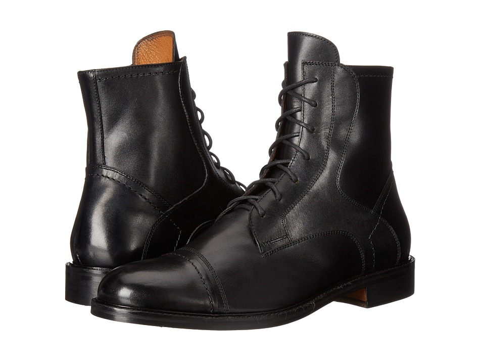 Massimo Matteo - 7-Eye Cap Toe Boot (Black) Men's Boots