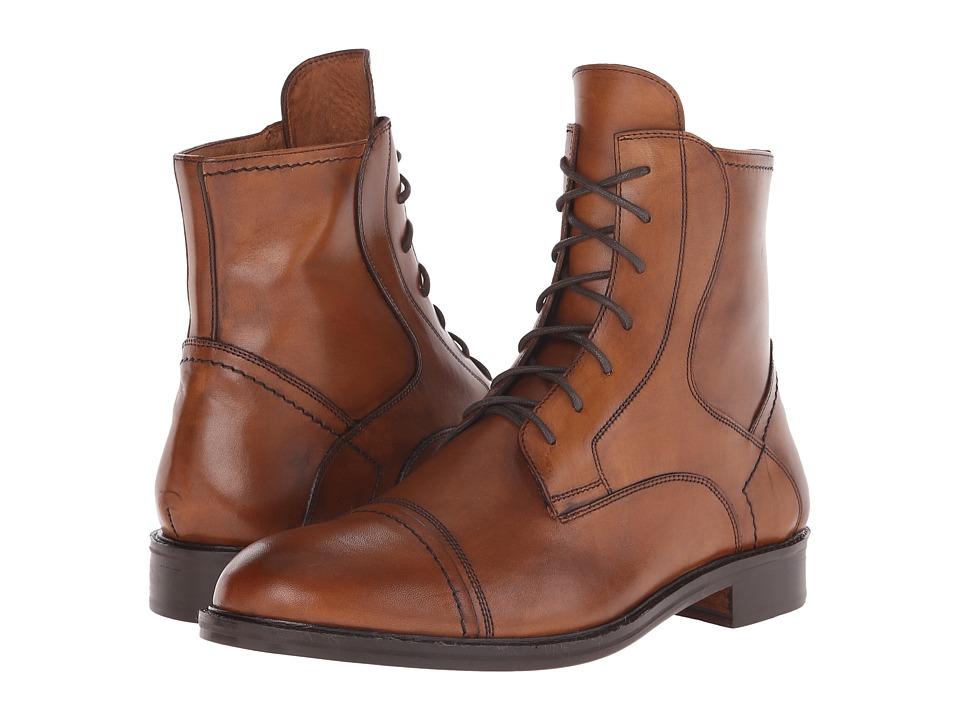 Massimo Matteo - 7-Eye Cap Toe Boot (Brandy) Men's Boots