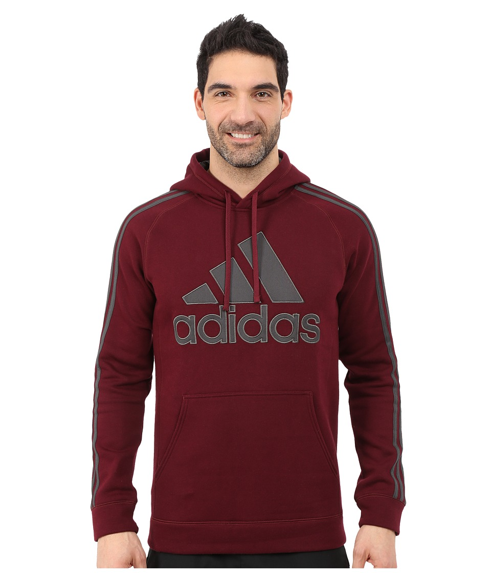 adidas - Essential Cotton Pullover Hoodie (Maroon/Dark Grey Solid Grey) Men