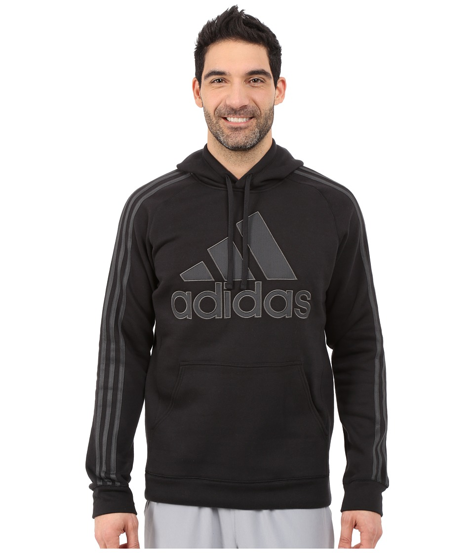 adidas - Essential Cotton Pullover Hoodie (Black/Dark Grey Heather/Solid Grey) Men