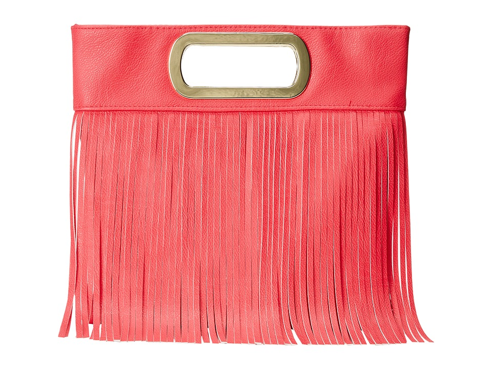 Jessica McClintock - Fringe Open Handle Clutch (Pink) Clutch Handbags