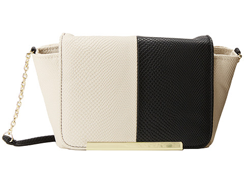 Jessica McClintock - Hiss Winged Flap Bar Bag (Bone/Black) Handbags