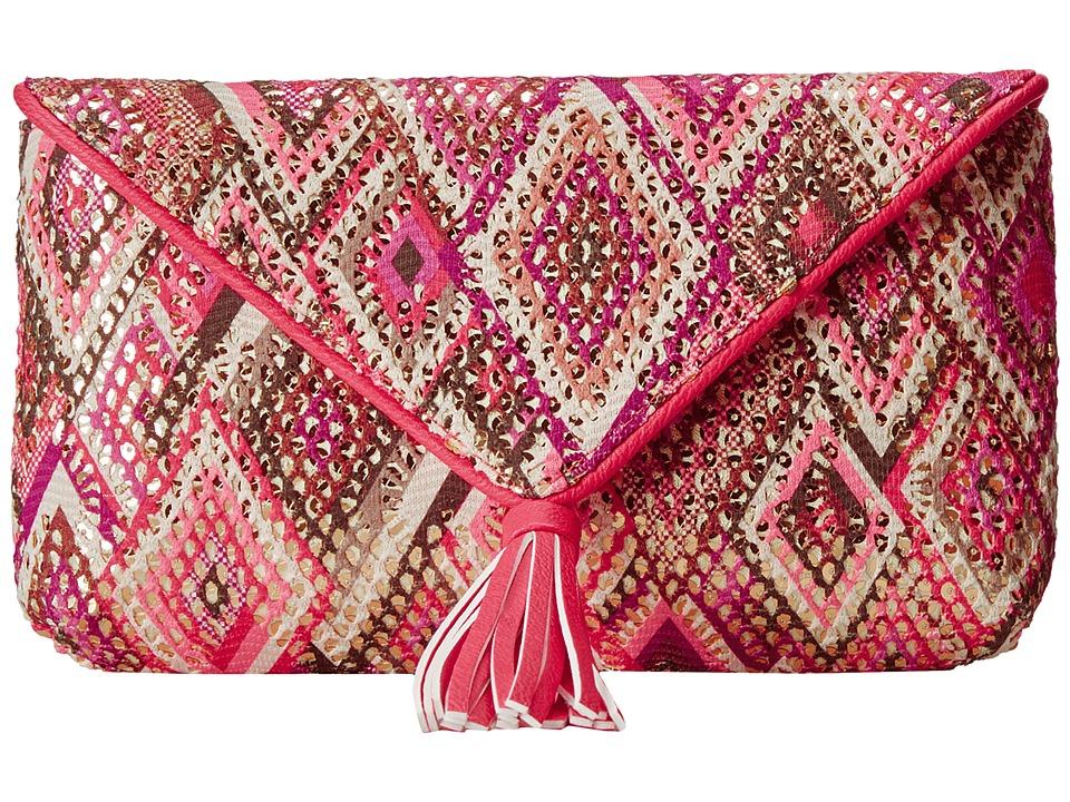 Jessica McClintock - Santorini Tassle Envelope Clutch (Pink Multi) Clutch Handbags