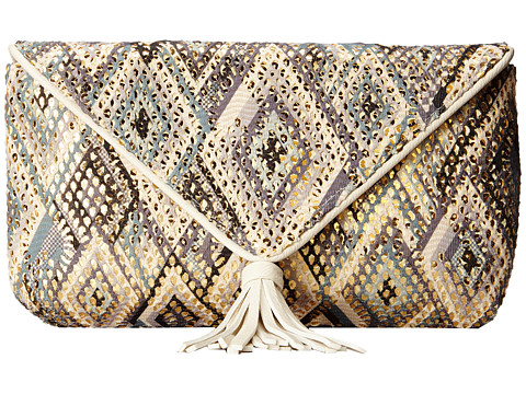 Jessica McClintock - Santorini Tassle Envelope Clutch (Blue Multi) Clutch Handbags