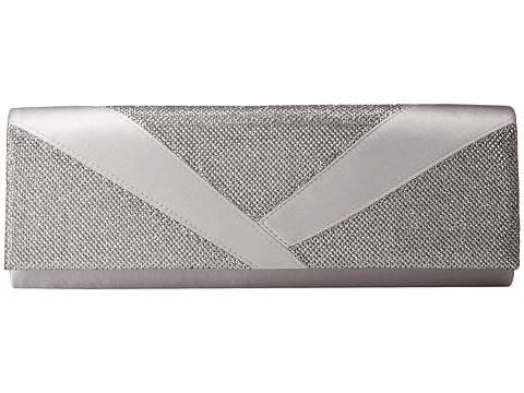 Jessica McClintock - Metallic Lurex Satin Clutch (Silver) Clutch Handbags