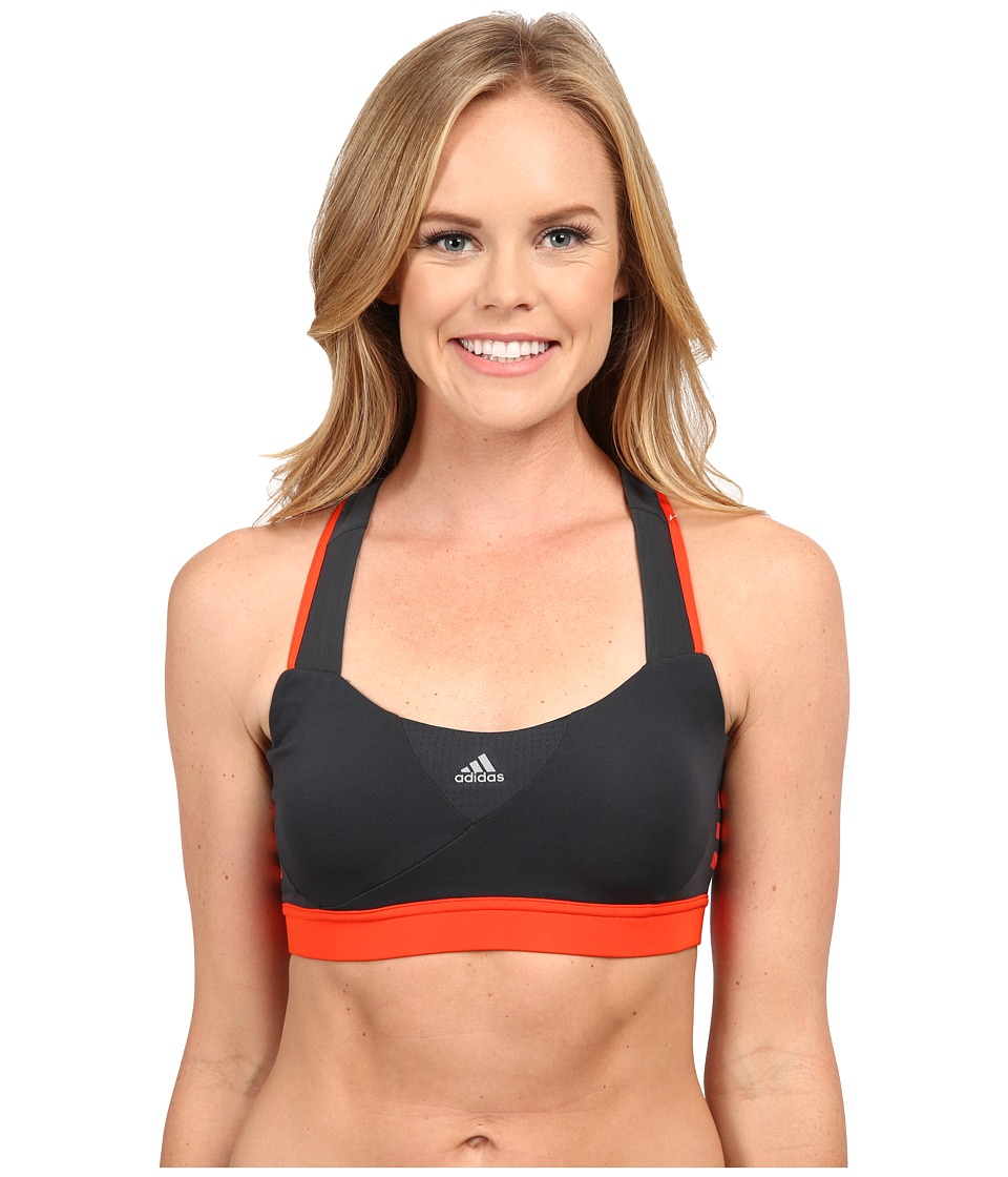 adidas - Supernova Bra (Dark Grey Heather/Solid Grey/Bold Orange) Women's Bra