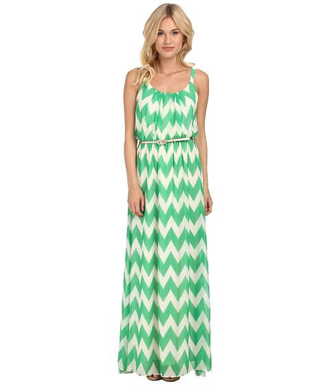 Jessica Howard - Sleeveless Pleat Neck Belted Blouson Maxi Dress (Green) Women's Dress