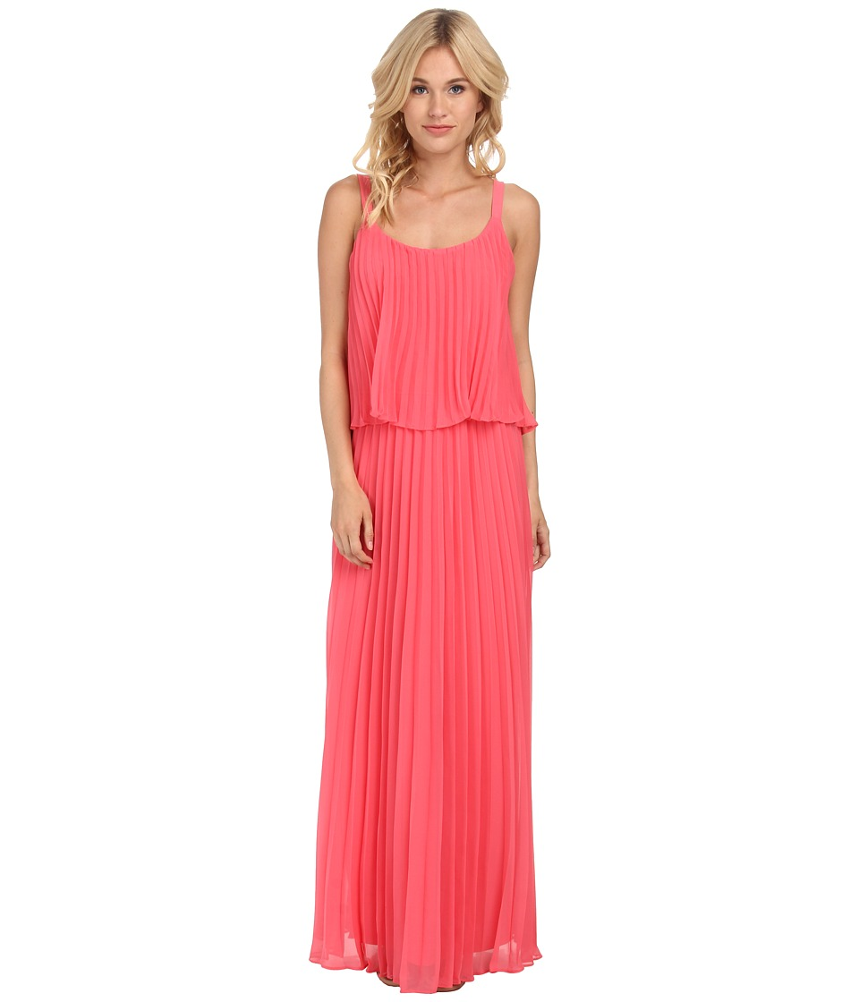 Jessica Howard - Spaghetti Strap Accordian Pleat Popover Maxi Dress (Melon) Women's Dress