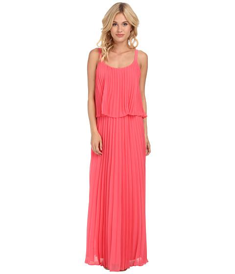 Jessica Howard - Spaghetti Strap Accordian Pleat Popover Maxi Dress (Melon) Women