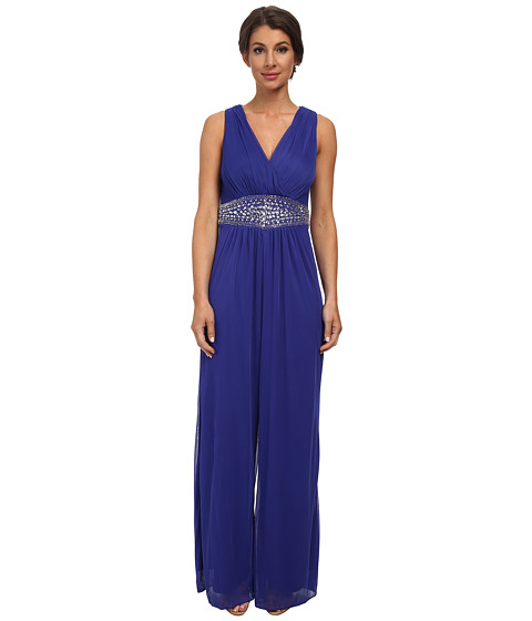 Jessica Howard - Sleeveless Pleated Surplice Bodice Beaded Waist Jumpsuit (Royal) Women's Jumpsuit & Rompers One Piece