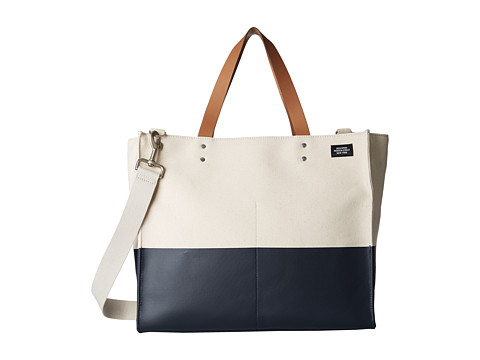Jack Spade - Dipped Canvas Small Square Tote (Natural/Navy) Tote Handbags