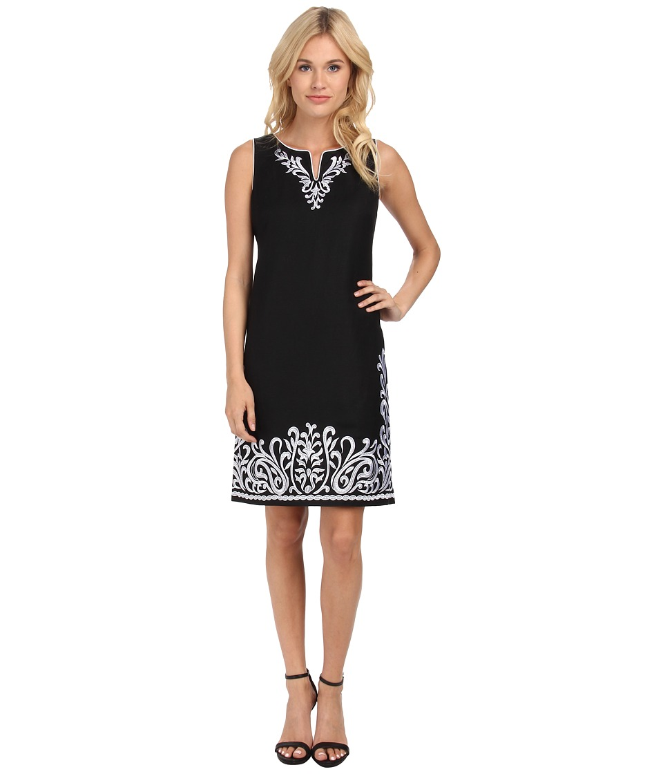 Jessica Howard - Sleeveless Split Neck Embroidered Shift Dress (Black/White) Women's Dress
