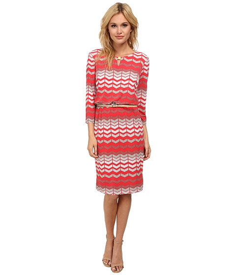 Jessica Howard - 3/4 Sleeve Hardware Keyhole Neck Belted Blouson Dress (Coral) Women's Dress