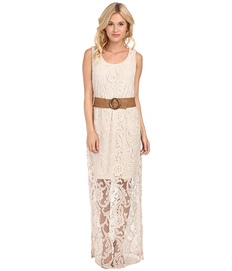 Jessica Howard - Sleeveless Scoop Neck Blouson Maxi Dress w/ Braided Sash (Natural) Women