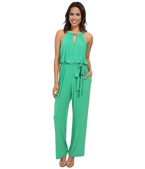 Jessica Howard - Sleeveless Hardware Keyhole Neck Blouson Jumpsuit (Green) Women