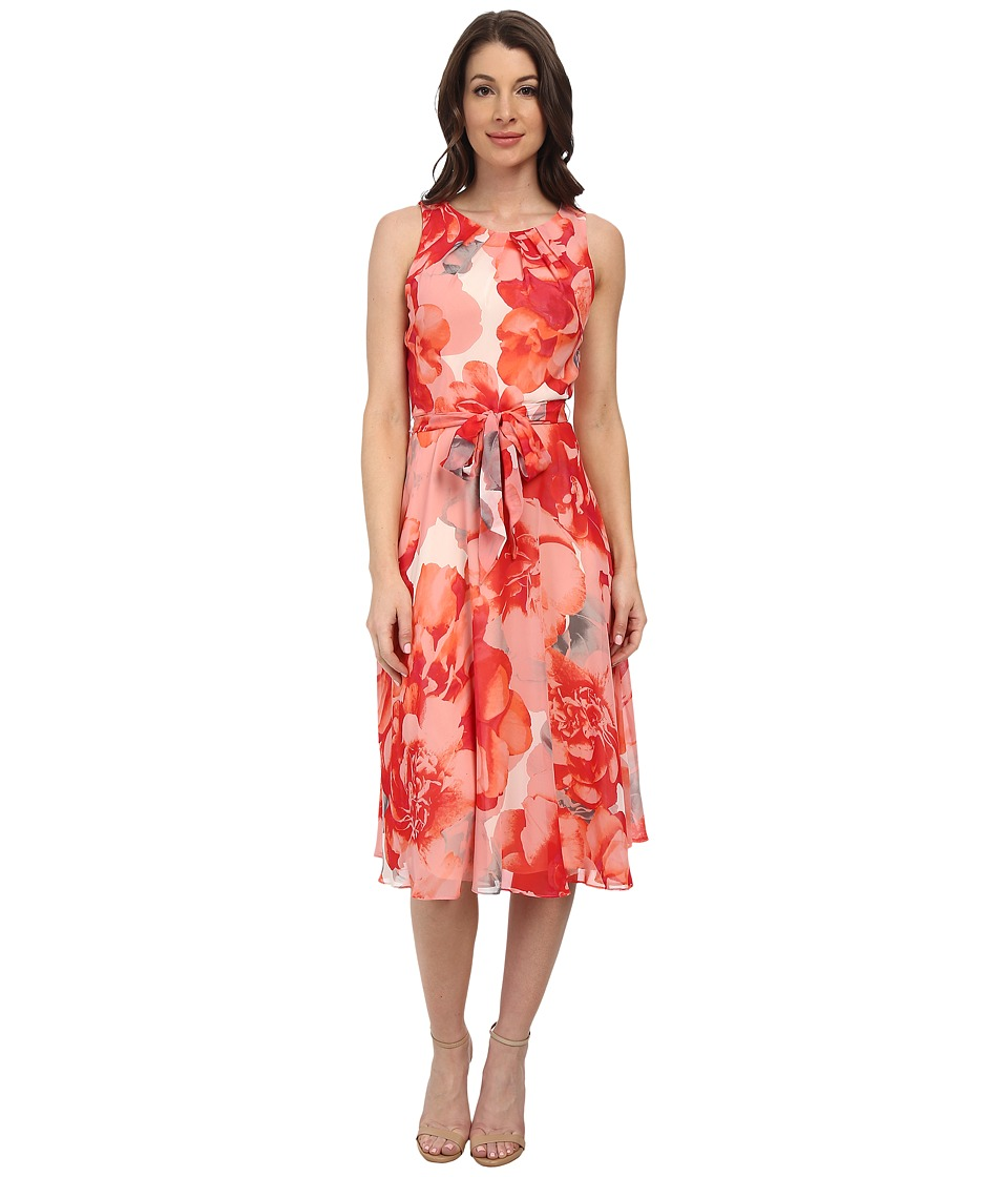 Jessica Howard - Sleeveless Shirred Neck Belted Dress w/ Fit Flare Skirt (Coral) Women