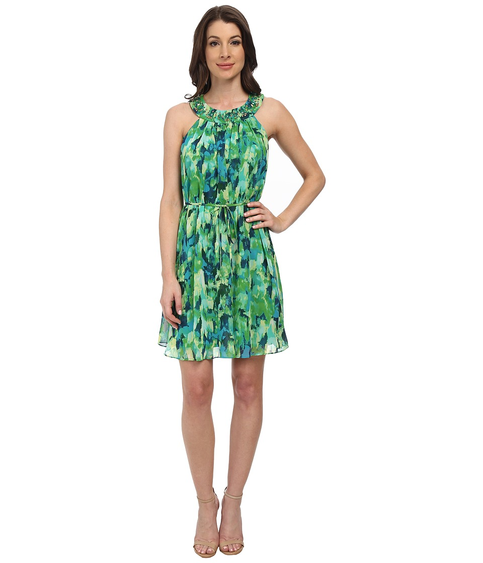 Jessica Howard - Sleeveless Framed Shirred Neck Trap Dress (Green Multi) Women's Dress