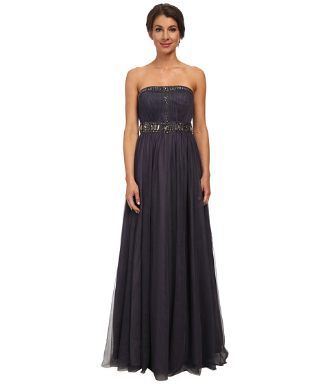 Adrianna Papell - Strapless Jewelry Tulle Gown (Gunmetal) Women's Dress