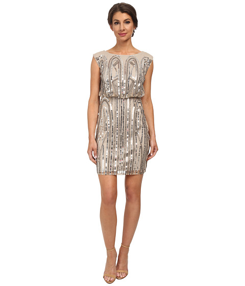 Adrianna Papell - Short Blouson Art Deco Dress (Nude) Women's Dress