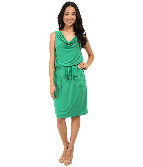Jessica Howard - Sleeveless Drape Neck Blouson Dress w/ Elastic Tie Waist Pockets (Green) Women